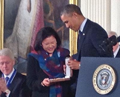President Barack Obama and Irene Hirano Inouye