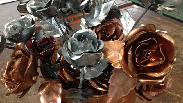 Sheet Metal Students Make Forever Roses For Valentine's Day