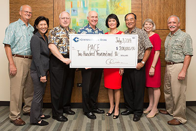From left, Vance Roley, Shidler College of Business dean; Susan Yamada, Pacific Asian Center for Entrepreneurship executive director; Larry Rodriguez, Central Pacific Bank retired executive; John Dean, Central Pacific Bank chairman and CEO; Catherine Ngo, Central Pacific Bank co-president and chief operating officer; Denis Isono, Central Pacific  Bank chief financial officer; Donna Vuchinich, UH Foundation president and CEO; and Tom Apple, UH Mānoa chancellor.