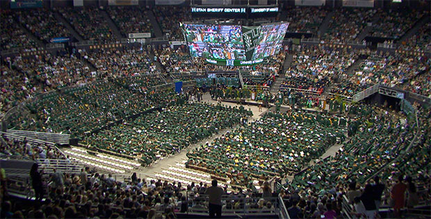 Wide shot of commencement at the Stan Sheriff Center
