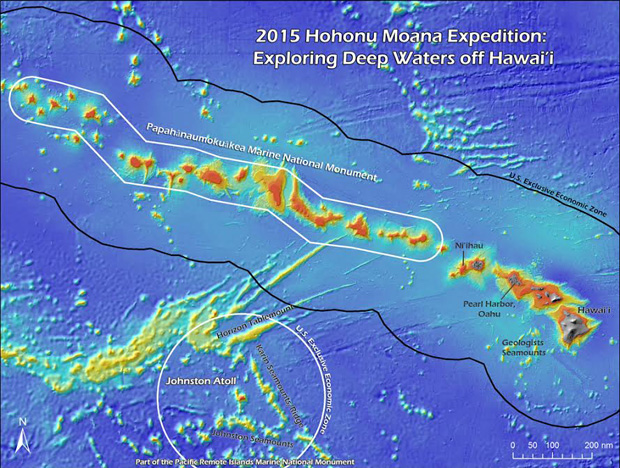 Areas NOAA Ship Okeanos Explorer will be visiting during its 2015 expedition to marine protected areas in the Pacific. (Credit: NOAA)