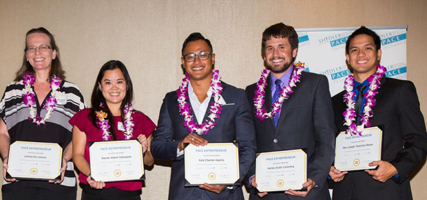 2014-15 cohort receiving their certificates of completion at the 2015 UH Business Plan Competition Final Event