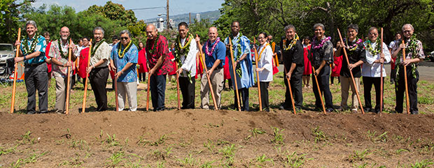 UH leaders and local dignitaries at Culinary Institute of the Pacific at Diamond Head groundbreaking
