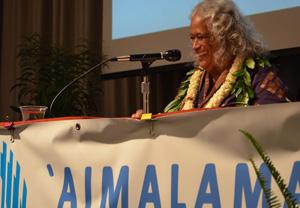 Pua Kanahele addressing Aimalama conference attendees
