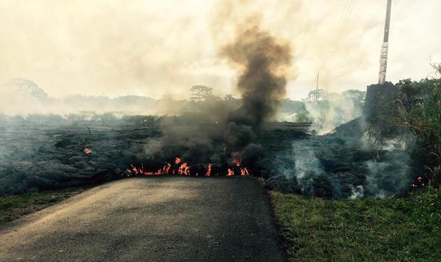 lava flow crossed Apaa Road in Puna