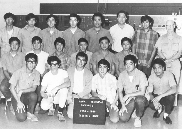 A group of young men enrolled in then Hawaii Technical School's electric shop class