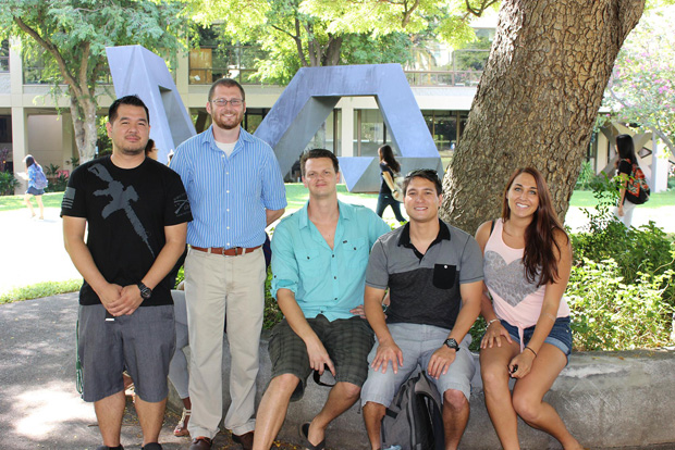 From left, UH Mānoa nursing student Ryan Yamada, graduate Brian Sullivan, student James Henry, Student Veteran Advisor Kenith Scott, and former student Kristen Haley.