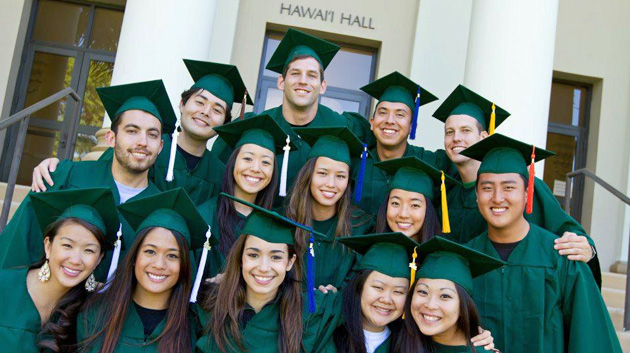 U H Mānoa graduates in caps and gowns