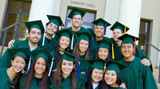 U H Manoa graduates in caps and gowns