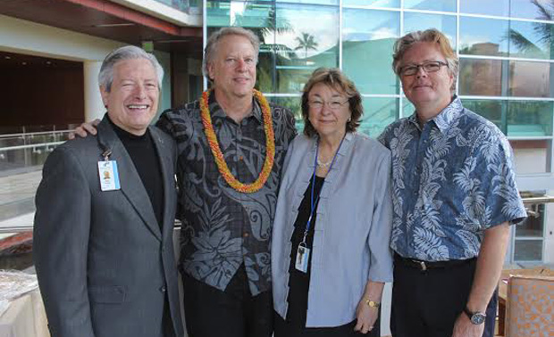 From left: John A. Burns School of Medicine dean and UH Cancer Center interim director Jerris Hedges, Andrew Weinberg, UH Cancer Center interim associate director Patricia Blanchette and UH Cancer Center professor Joe Ramos.