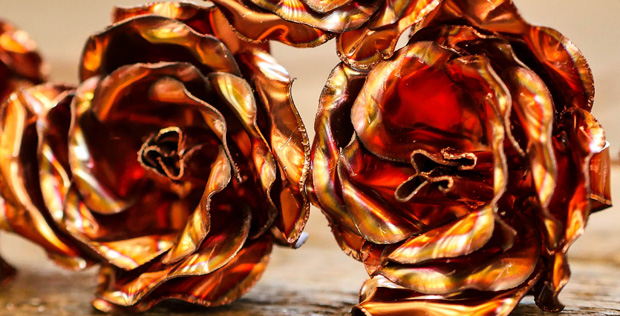 One-of-a-kind Copper Roses For Valentine's Day