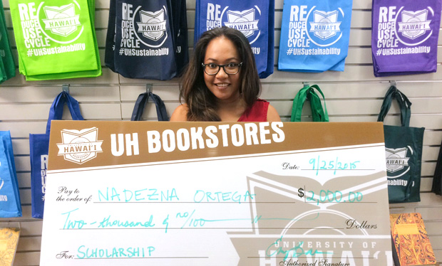 UH Mānoa student Nadezna Ortega was 1 of 13 UH Bookstores Scholarship winners in fall 2015.