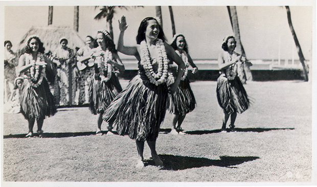 Archival image of hula dancers
