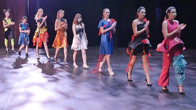 Young Women Walking For A Fashion Show