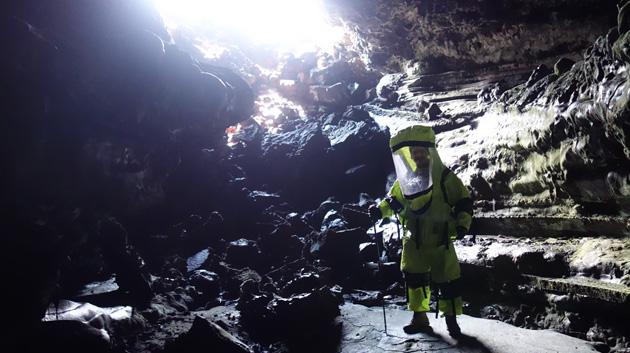 HI-SEAS Crewmember Tristan Bassingthwaighte In A Cave