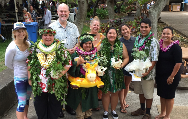 Spring 2016 Maile graduates at the SOEST post-graduation reception