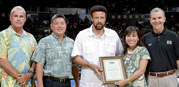From left, Don Weir, K. Mark Takai, Artie Wilson, Janet Yoshida Bullard and Carl Clapp at the UH Alumni Association official chapter recognition in October 2010.