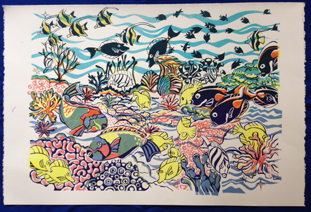 Screen print of Hawaii reef fish