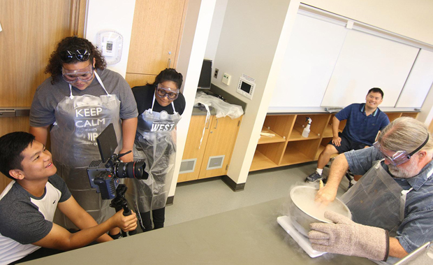 UH West Oahu creative media students shoot scenes in a laboratory