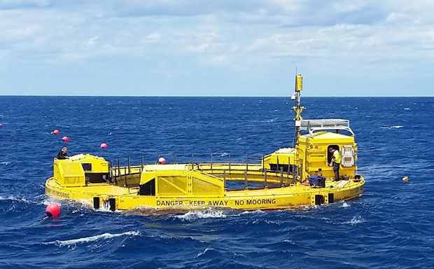 Lifesaver as it was being deployed in the ocean
