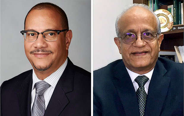 Portraits of John V. White (left) and Sonny Ramaswamy (right)