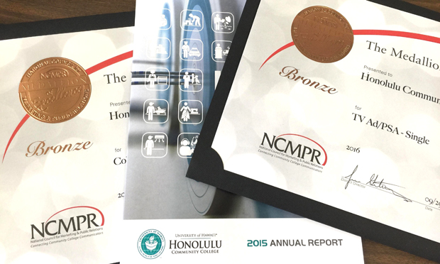 Honolulu annual report cover and award certificates