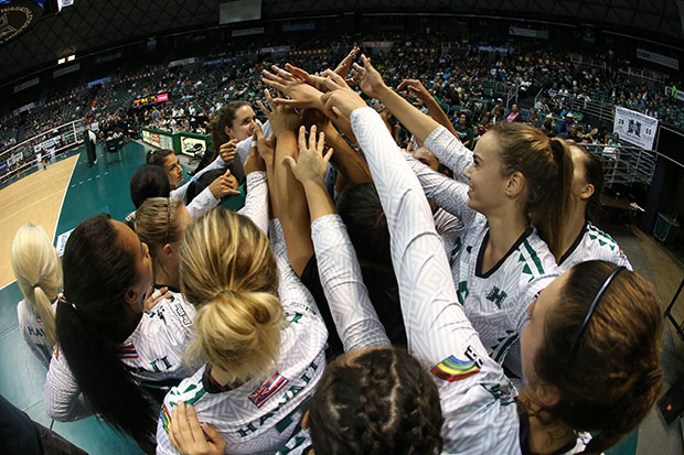 Wahine athletics in a group high five