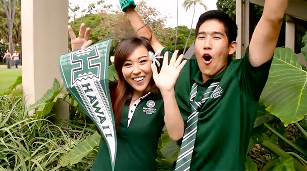Two happy U H Mānoa students