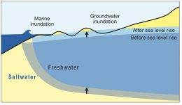 Sea level inundation chart