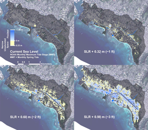 Simulations of groundwater inundation chart