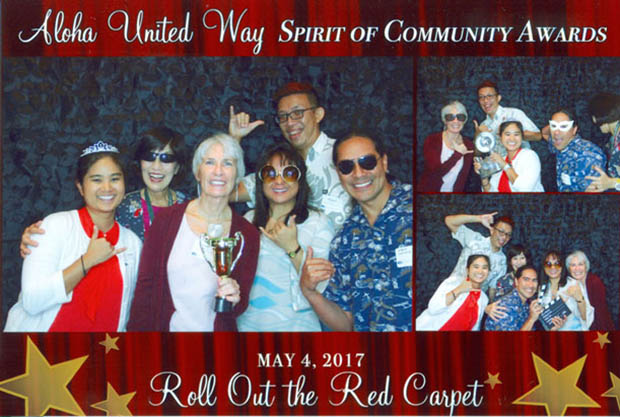 Collage of group pictures of Kapiolani and U H System staff with the A U W award