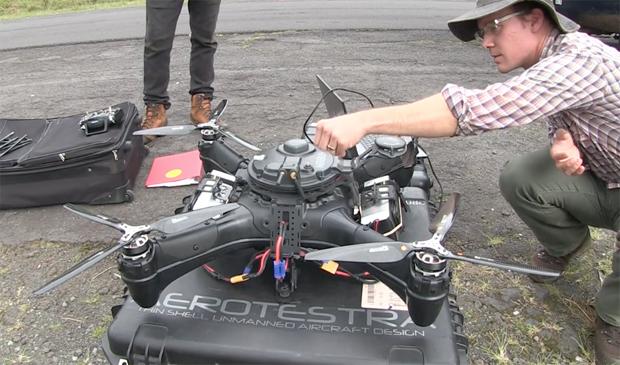 Ryan Perroy prepping a UAV