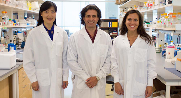 Haining Yang,  Michele Carbone and Angela Bononi standing in a lab