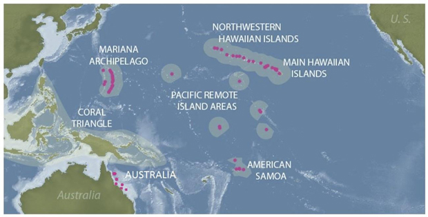 Map of Pacific coral reefs