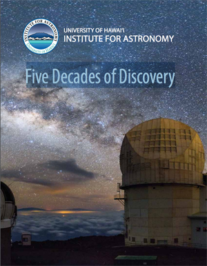 Institute for Astronomy 50th anniversary publication cover with telescope and stars on the cover