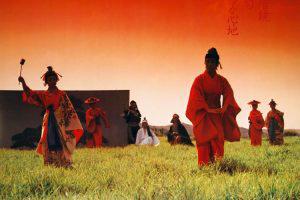 Okinawan dancers performing in field