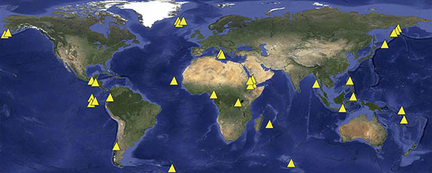 Map of 34 volcanoes used to test hypothesis
