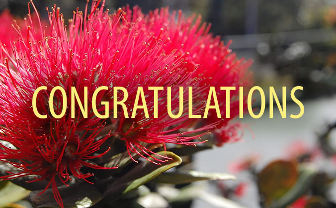The word ʻcongratulationsʻ in front of a flower