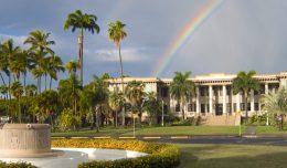 rainbow over Hawaii Hall