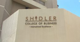 Shidler College of Business sign