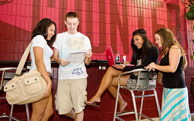 Students interacting cheerfully