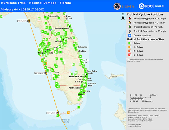 Florida area affected by hurricane mapped with colored H symbols designating hospital days loss of use