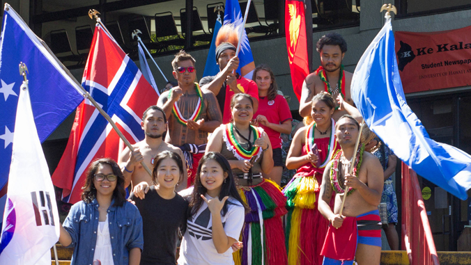 group of international students with country flags