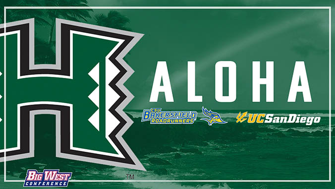 UH Manoa, CSU Bakersfield and UC San Diego and Big West Conference logos on green background with the word ALOHA