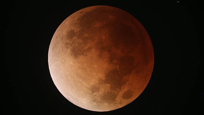 Close-up of the blue blood moon
