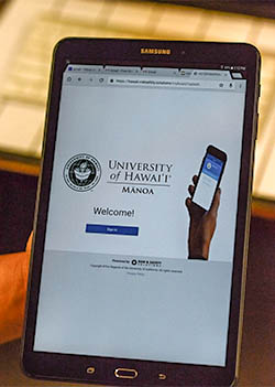 iPad featuring UH Manoa lab safety software