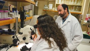 Nerrissa Spies and Bob Richmond in the lab