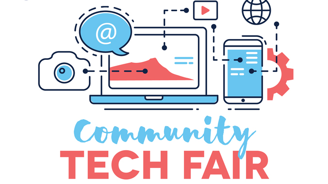 """event poster illustrations of laptop, camera with words """"community tech fair"""""""