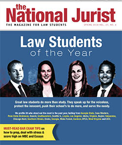 Cover of the National Jurist magazine featuring four students including Mahesh Cleveland