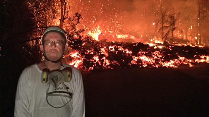Bruce Houghton with Kilauea eruption behind him